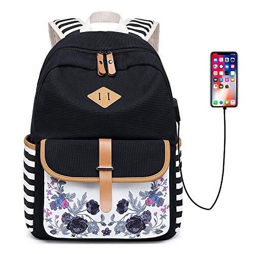Neuleben Rucksack Schulrucksack mit Blumenmuster USB Port für Damen Mädchen Rucksäcke Daypack Schultasche 15,6 Zoll Laptop Rucksack Schwarz -