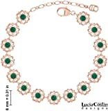 24K Pink Gold over .925 Sterling Silver Bracelet by Lucia Costin with Green Swarovski Crystals and Dainty Dots, Ornate with 6 Petal Flowers; Handmade in USA