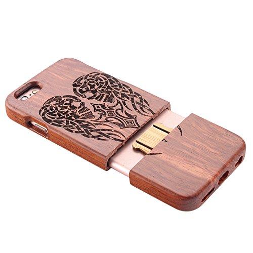 Coque iPhone 7 Anti Choc Case en Bois Naturel Forepin® Réel Etui Couvert et Housse en Wood Dur dans Motif de Sculpté élégante Protecteur pour iPhone 7,4.7 inch (Lion) Squelette