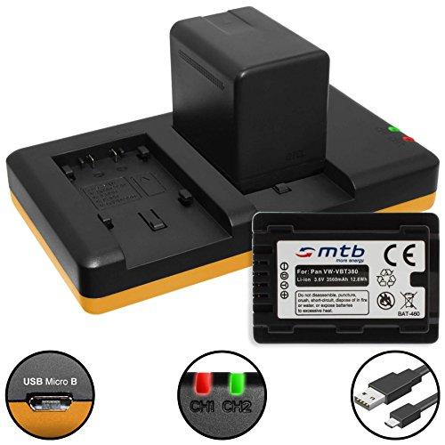 Foto 2 Batterie [3560mAh] + Caricabatteria doppio (USB) per VW-VBT380 / Panasonic HC-V130, V160, 270, 380, V727, V777 ... v. lista! con Infochip (con indicazione del tempo rimanente di ripresa!)