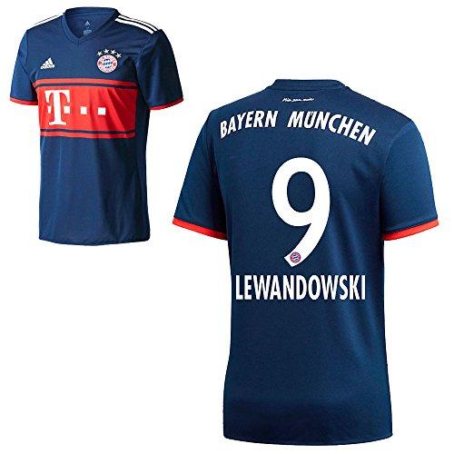 Herren Away Trikot (Adidas FC Bayern München FCB Away Trikot 2017 2018 Herren Kinder mit Spieler Name navy Farbe Lewandowski, Größe 164)