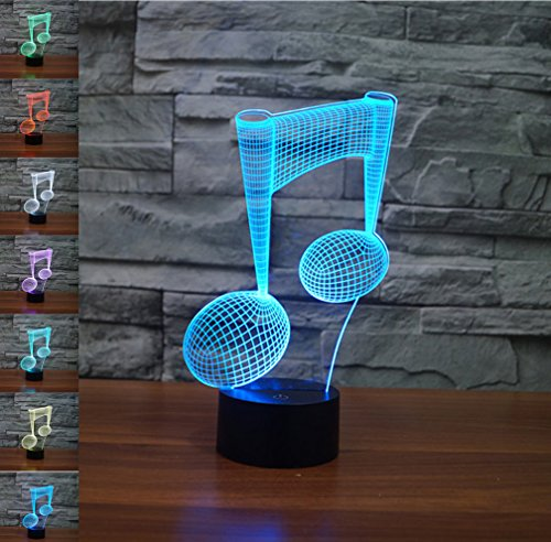 3d ilusión lámpara luz nocturna jawell Piano Nota 7colores cambiantes Touch USB...