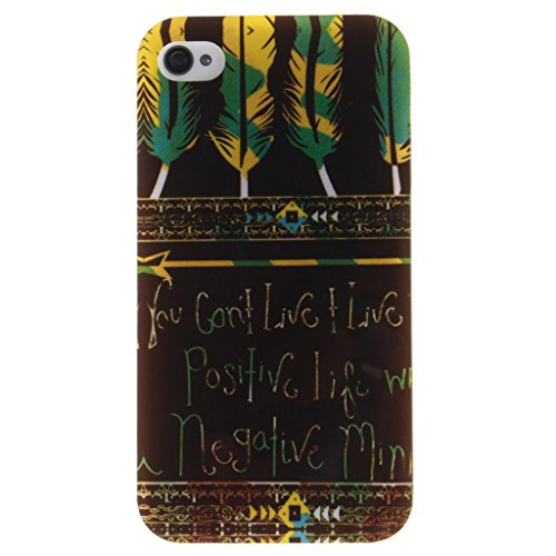 iPhone 4S Coque, iPhone 4 Coque, Lifeturt [ Amandier ] Etui Transparent élégant TPU Gel Coque Silicone Shell Housse 3D Case Cover Motif Impression Creative Ultra Mince Cas Sac Skin Protection Shell Pr E02-Plumes aztèque tribal vivre une vie positive Motif