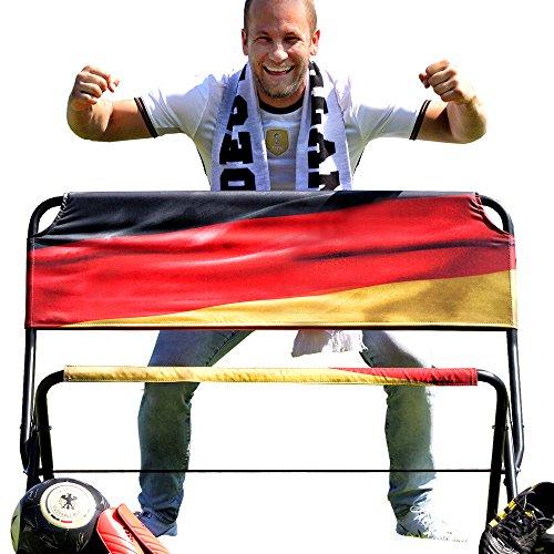 Löwenprinz® - klappbare Fussball FANBANK (TO-GO) mit MOTIV 112 x 53 x 86 cm (LxBxH) für Events, Sport, Camping, Festivals MADE IN GERMANY WELTNEUHEIT! schwarz