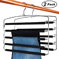 DOIOWN Pants Hangers Space Saving Non Slip Trousers Hangers Stainless Steel Clothes Hangers Closet Organizer for Pants Jeans Scarf Hanging