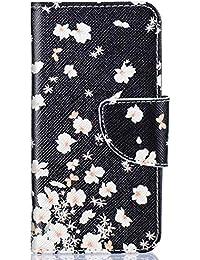 Surakey Funda Galaxy A3 2016 Marco de Cuero de la PU Flip Protectora de Cuerpo Completo Case Cover Slim Case de Carcasa Libro de Cuero para Samsung Galaxy A3 2016,Pequeña Flor Blanca