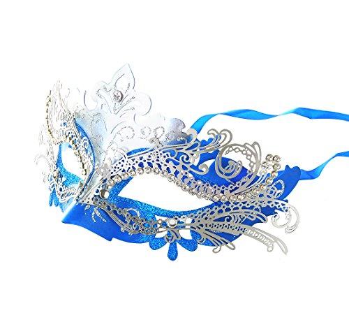 Metal Laser-Cut w/Crystals on Eyes Masquerade Ball Mask Maskerade Maske Masken (Style 5)