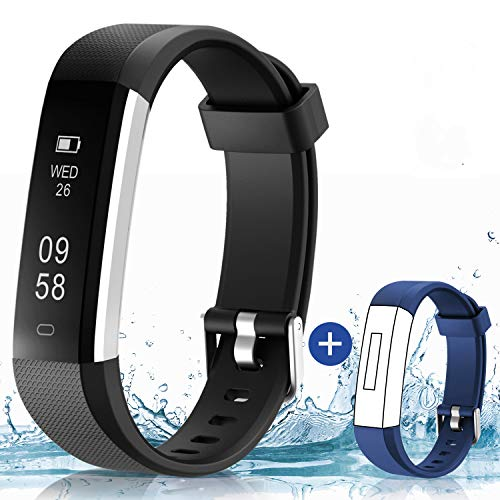 HolyHigh Fitness Tracker Smart Watch- black with blue strap