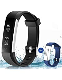HolyHigh Smart Band Waterproof Smart Watch SMS Messages Call Notification Fitness Bands Step/Claroie Counter Alarm Sedentary Reminder Fitness Tracker Watch for Men Women Boys