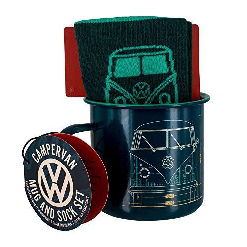 Volkswagen VW T1 Bus Metall-Kaffeebecher mit Socken - Volkswagen VW Bulli T1 Kaffeetasse