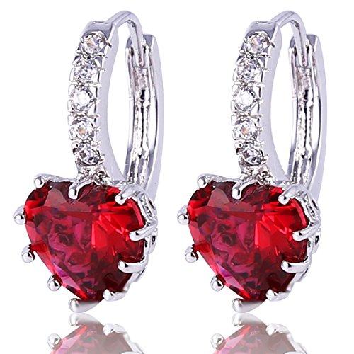 Gulicx, orecchini a cerchio con fascia, in argento sterling 925, con pietre in zirconia cubica a forma di cuore e argento, colore: red, cod. se03e