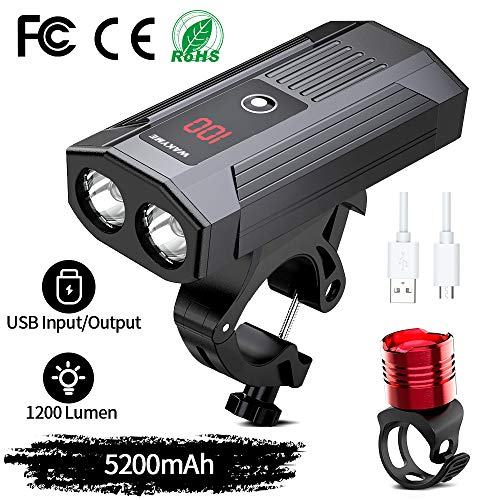 WAKYME Luces Bicicleta, Luz Bici Recargable USB de 5200mAh con Batería Móvil Combo de Luces Delantera...