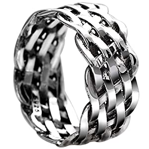 Bishilin Sterling Silber Ring Herren Punk Biker Kette Partnerring Gothic Ring Silber