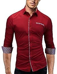 MERISH Slim Fit chemise homme, longue chemise chic et décontracté utilisé avec des contrastes de Plaid avec poche poitrine style unique Modell 92