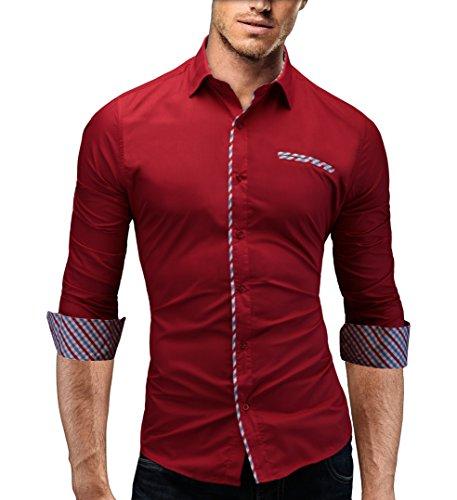 MERISH Slim Fit chemise homme, longue chemise chic et décontracté utilisé avec des contrastes de Plaid avec poche poitrine style unique Modell 92 Rouge