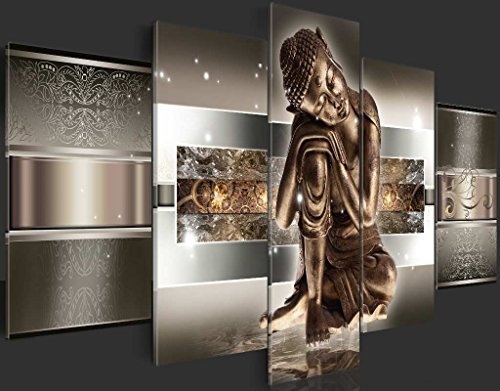 Bilder 200×100 cm – 3 Farben zur Auswahl ! XXL Format! Fertig Aufgespannt TOP Vlies Leinwand – 5 Teilig – Buddha Wand Bild Bilder Kunstdrucke Wandbild 020113-289 200×100 cm B&D XXL - 3