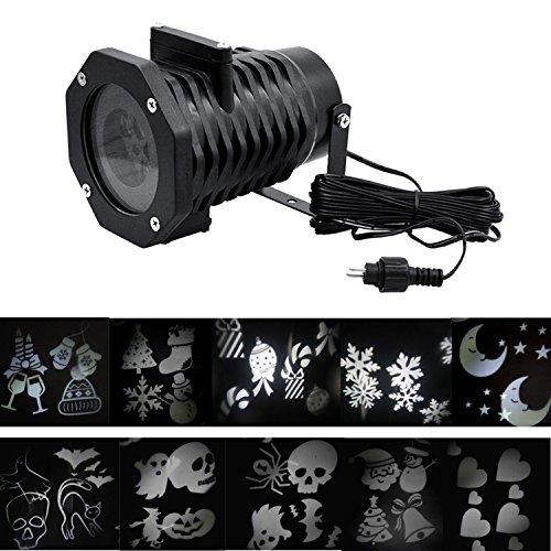 Beetest® Impermeabile LED Proiettori Luce / All'aperto Natale Decorazione Paesaggio Luce / Halloween Proiettori Luce Della Fase con 10 Sostituibile Piastre Modello ( Bianca Luce, Spina EU )