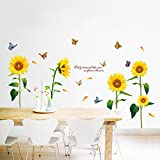 Clest F&H Sunflower Flowers Wall Stickers Removable Home Decals Mural Wall Decal Sitting Room DIY Art Decals 60cm x 90cm