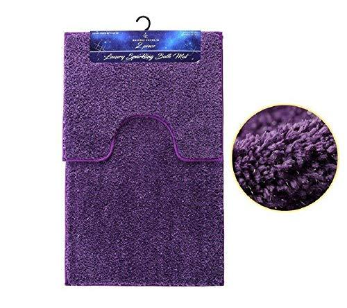 Deluxe Beddings Badvorleger, modern, weich, glänzend, Rutschfest, Gummi-Rückseite, 13 Farben violett (Wc-creme-farbe)