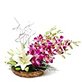 Floralbay Basket Arrangement of 3 White Asiatic Lilies with 5 Purple Orchids