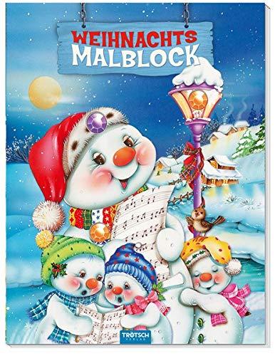 Schneemann-Malblock mit 3 Glitzersteinen und Farbvorlage Weihnachtsmalblock: Glitzer auf dem Cover