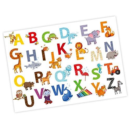 nikima - Kinder Tier ABC Poster Plakat Tiere Alphabet Buchstaben Wandbild Kinderzimmer Schöne Wanddeko Größe 700 x 500 mm