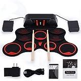 AIYIOUWEI Tragbares Elektronisches Drumset mit Wiederaufladbaren Akku-Fußpedalen Drumsticks in Lauten Lautsprechern
