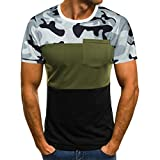 Shirts Herren Männer Sommer Stylisch Slim Fit Sport Muscle T-Shirt Slim Leger Fit Kurzarm Camouflage Taschenbluse Top (Grün, XL)