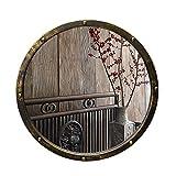 LEI ZE JUN UK Mirror- Weinlese-Schmiedeeisen-Badezimmer-Spiegel-Raum mit altem antikem rundem chinesischem Schlafzimmer-Wohnzimmer Wandspiegel