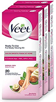 Veet Full Body Waxing Kit for Normal Skin - 20 Strips (Pack of 3)