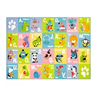 KC CUBS Playtime Collection ABC Alphabet Animals Educational Learning Area Rug Carpet For Kids and Children Bedrooms and Playroom