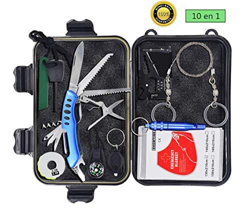 Kit de Survie Randonnée 10 in 1, Multi Outils de Survie Professionnelle Sécurité à l'extérieur Équipement de Voyager Randonnée Cyclisme Escalade