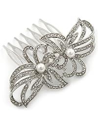 Suite/boda/baile/del partido de cristal transparente chapado en rodio, perla simulada de doble peine del pelo - 75 mm