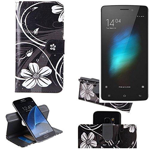 K-S-Trade® Schutzhülle Für Cubot X12 Hülle 360° Wallet Case Schutz Hülle ''Flowers'' Smartphone Flip Cover Flipstyle Tasche Handyhülle Schwarz-weiß 1x