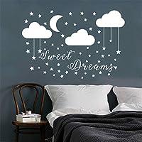 JURUOXIN Sweet Dreams Wall Sticker with Moon Cloud Stars Art Vinyl Decals for Kids Boy Girl Princess Nursery Quote Decoration YMX40 (White, 57X38CM)