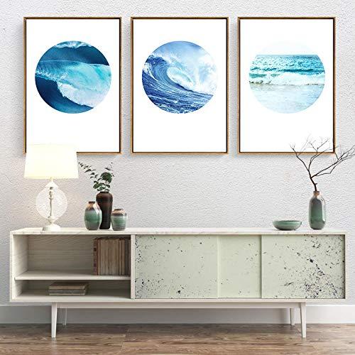 Bilder Auf Leinwand Triptychon,3 Pcs Einfache Wave Landschaft Kreativ Drucken Moderner Wand Art Poster Leinwand Gemälde Für Wohnzimmer Schlafzimmer Bar, Restaurant Shop Home, 40 X 60 Cmx 3 Pcs Ohn -