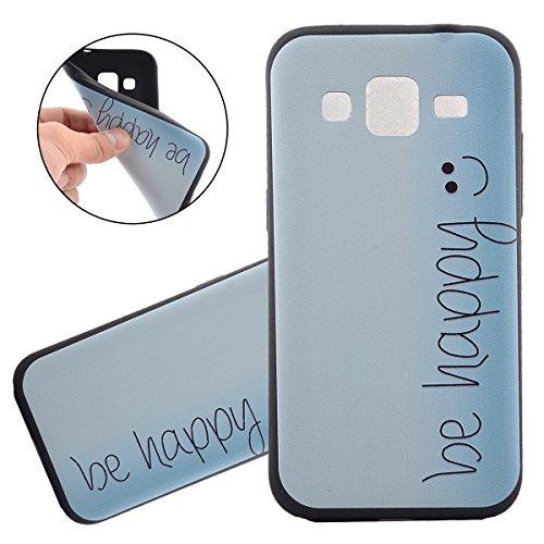 Coque Galaxy Core Prime, Étui pour Samsung Galaxy Core Prime, ISAKEN Coque Étui Housse Téléphone Étui TPU Silicone Souple Coque Ultra Mince Gel Doux Housse Motif Arrière Case Antichoc Doux Durable Rés Be happy