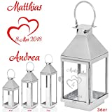 Geschenke 24: Laterne zum Hochzeitstag mit Gravur (60 x 16 x 16 cm) – Edelstahllaterne personalisiert mit Namen und Datum