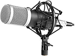 Electrobot BM800 Recording Dynamic Condenser Microphone with Shock Mount (Silver)
