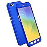 CEDO 360 Degree Full Body Protection Front & Back Case Cover (iPaky Style) with Tempered Glass for Vivo Y55/Y55L (Blue)