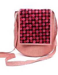 Aditi Trends - Women's Handmade Cotton Pink Sling Bag - Handsttiched Ecofriendly Shoulder Bag