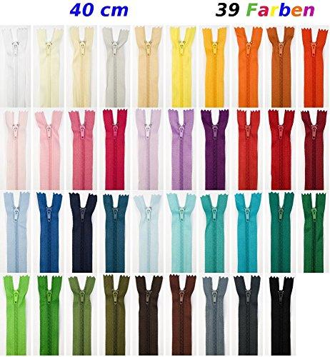 39 Reißverschlüsse, 40 cm lang, nicht teilbar, in 39 verschiedenen Farben (jeweils ein RV in einer Farbe), 3 mm Laufschiene, 24 mm breit.