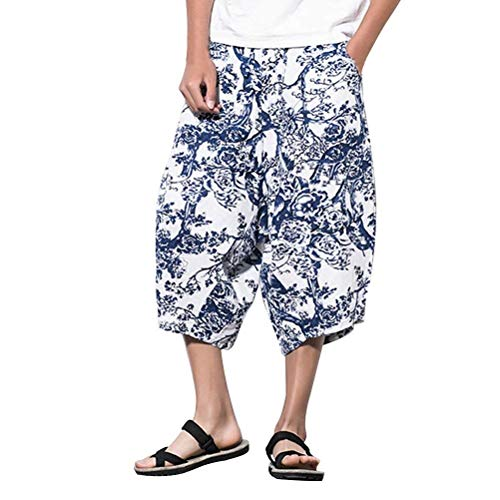 "Herren Jugendliche Atmungsaktiv Cool Leinen Pants Fancy Casual Bekleidung Hippie Harem Pants Low Crotch Hose Vintage Mode Bedruckte Pluderhose Sommerhose ( Color : Dk702 , Size : Waist 32&quot-38"" )"