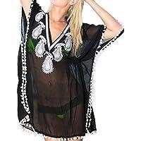 La Leela donne chiffon trasparente super leggero mano ricamata di paillettes paisley profondo collo cocktail party 4 in 1 bikini coprire loungewear abito tunica top base