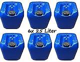 6x Kanister 25 Liter blau Vorratsbehälter Öl Diesel Benzin Heizöl Laugen 25L Floss