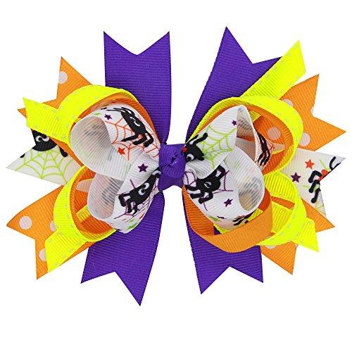 iYmitz Baby Mädchen Halloween Bowknot Haarnadel Kopfschmuck(Weiß,A)
