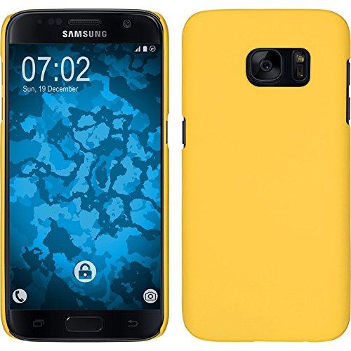 PhoneNatic Case kompatibel mit Samsung Galaxy S7 - Hülle gelb gummiert Hard-case + 2 Schutzfolien Gelb Hard Case
