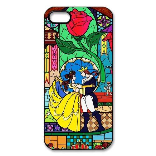 Apple iPhone 5/iPhone 5S Case Coque de protection Case-Disney Beauty And The Beast TPU Étui Coque de Protection pour iPhone 55S (Blanc/Noir)
