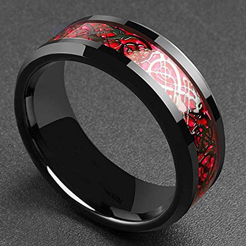 CJF123Domineering Man Ring Red Green Carbon Fiber Black Dragon Inlay Comfort Fit Stainless Steel Rings for Men Wedding Band Ring, 13,Red