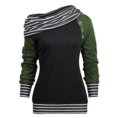 Riou Damen Bluse Pulli Sweatshirt Pullover Elegante Blusen Oberteil Langarmshirt, Mode Frauen Skew Neck Langarm gestreiften Patchwork Button Sweatshirt Top (L, Grün)